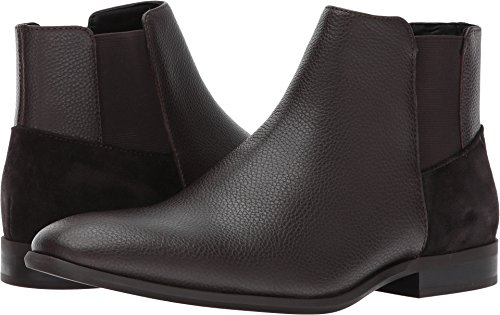 Larry Leather - Calvin Klein Men's Larry Tumbled Leather Ankle Bootie, Dark Brown, 9.5 M US