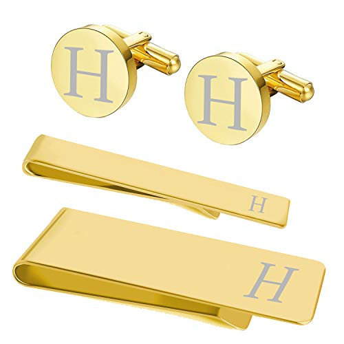 BodyJ4You 4PC Cufflinks Tie Bar Money Clip Button Shirt Personalized Initials Letter H Gift Set