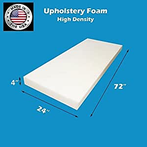 "FoamTouch Upholstery Foam Cushion High Density, 4"" H X 24"" W X 72"" L, Made In USA"