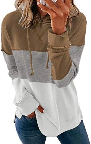 Biucly Womens Casual Hoodie Striped Printed Sweatshirts Long Sleeve Drawstring Pullover Tops Shirts