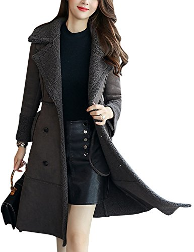 - Tanming Women's Winter Sherpa Lined Faux Suede Leather Coat Outerwear (Small, Grey)