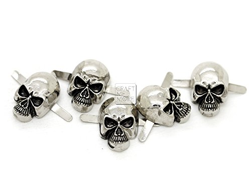 r Gun Black Skull Head Bone Prong Stud Gothic Style Ghost Studs Leather Craft Decorations Pack of 10 (Small 8 x 14 mm, Silver) ()