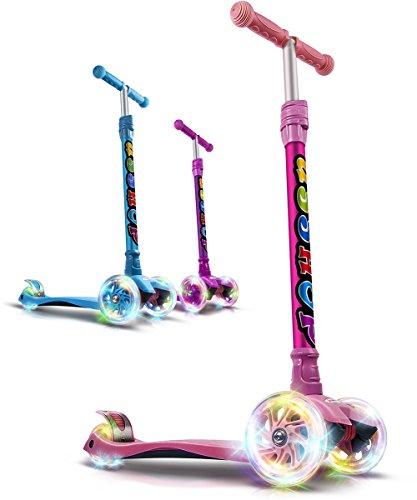 GOOGO Kick Scooter For Kids 3 Wheel Lean To Turn 4 Adjustable Height PU Wheels For 3-13 Year Old Pink