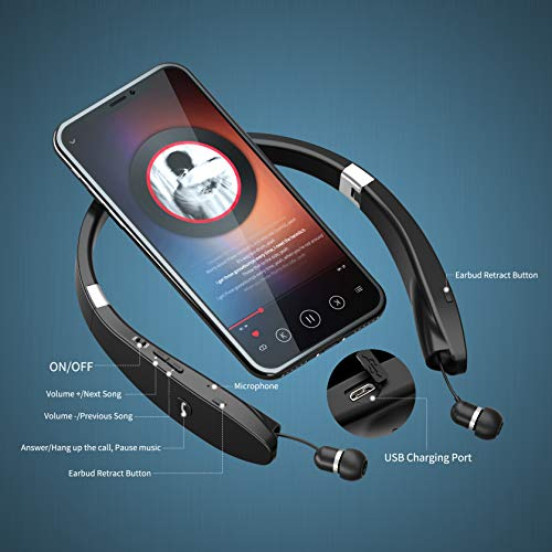 AMORNO Foldable Bluetooth Headphones Wireless Neckband Headset with Retractable Earbuds, Sports Sweatproof Noise Cancelling Stereo Earphones with Mic (Black)