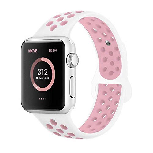 AdMaster Compatible for Apple Watch Bands 38mm,Soft Silicone Replacement Wristband Compatible for iWatch Apple Watch Series 1/2/3 - S/M White/Light Pink
