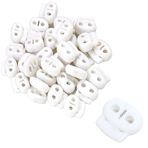 AXEN 30PCS Plastic Cord Lock End Toggle Double Hole Spring Stopper Fastener Toggles for Shoelaces, Drawstrings, Paracord, Bags, Clothing and More, White