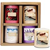 Lighthaus Candles Scented Pillars in Vanilla Caramel, English Rose, French Lavender Ocean Breeze for Decoration -2.5 X 2.8-inch-Set of 4 Pieces