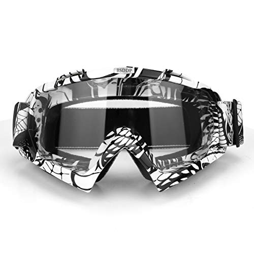 Motorcycle Goggles Ski Snowboard Goggles UV400 Protection Windproof Dustproof ATV Dirt Bike Racing Motocross Cycling Skiing (White Frame Clear Len)
