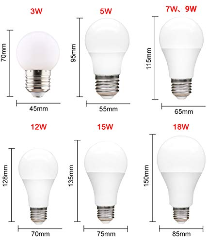 Amazon.com: StrongSK LED Bulbs & Tubes - Bulb E27 220V 85-265V 110V Light Bulb Real Power 3W 5W 7W 9W 12W 15W 18W Lampada LED Lamp High Brightness Lampara ...