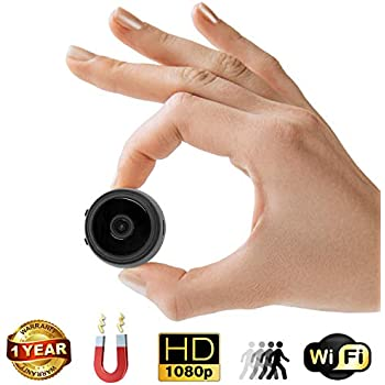 Mini Spy Camera with Wi-Fi – 35mm Wireless Hidden Camera, Home Security System, Nanny Cam – HD Wide Angle Camera with Loop Recording, Motion Detection, ...
