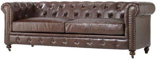 "Home Decorators Collection Gordon Tufted Sofa, 32"" Hx91 Wx38 D, BROWN"