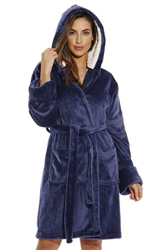 Hooded Robe Blue (Just Love 6364-NVY-XS Kimono Robe/Bath Robes for Women)