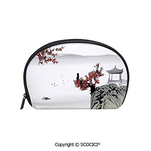 SCOCICI Printed Small Travel Toiletry Cosmetic Pouch Asian River Scenery with Cherry Blossoms and Boat Cultural Hints Mystical View Artsy Work Handy Daily Storage Makeup Bag (Mystical Boat)