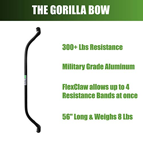 Gorilla Bow Portable Home Gym Resistance Band System | Weightlifting & HIIT Interval Training Kit | Full Body Workout Equipment (Black) by Gorilla Fitness (Image #3)
