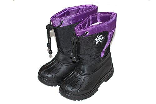KINDER Mädchen<U+2606>         Jungen         <U+2606>          Winter Schnee Stiefel Boots KAT-TEX GEFÜTTERT BE-052, Schwarz-Lila, 32 EU