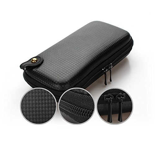 Carbon Fiber Pattern Design Hard MINI Universal Carrying Case/Portable Bag with Hook Clip Keychain Keyring for Kanthal Wire, E-Cigarette, Vapes, Vape Mods and E-Liquid [CASE ONLY]