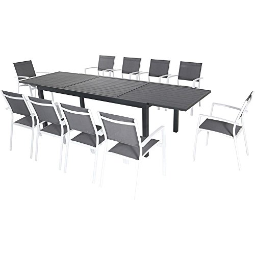 Stylizio 11-Piece Outdoor Dining Set w/10 Sling Chairs in Gray/White and 40
