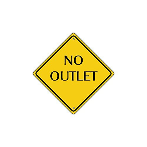 No Outlet Road Warning Metal Aluminum Street Sign 12x12 inch ()