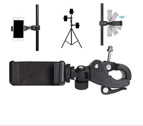 Cell Phone Tripod Mount Adapter,MeetRade Quick Release Pipe Clamp Mounts with 1/4 Thread + Adjust Phone Clip for Cameras, Music Stands, Microphone Stands, Motorcycles, Bikes Bar