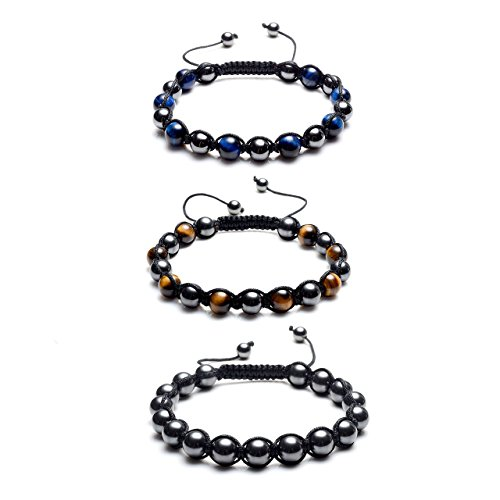 MANIFO Magnetic Stone w/Natural Tiger Eye Gemstone Hematite Magnetic Therapy Bracelets, Pain Stress Relief, Set of - Balance Pain $10 Bracelet