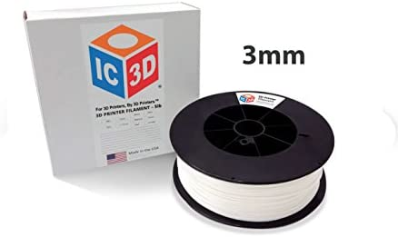 IC3D White 3mm ABS 3D Printer Filament - 2.5kg Spool - Dimensional Accuracy +/- 0.05mm - Professional Grade 3D Printing Filament - Made in USA