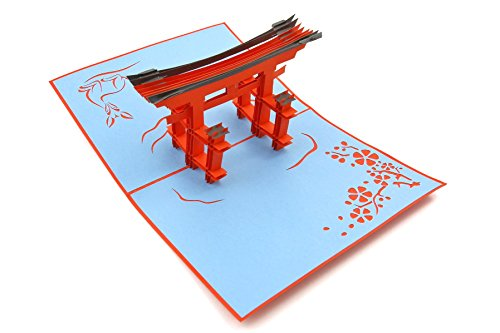 PopLife Torii Japan Gate 3D Pop Up Greeting Card for All Occasions - Asia Travellers, Architect, Japanese History Lovers - Folds for Mailing - Birthday, Graduation, Retirement, Anniversary, Get Well - Japanese Card Birthday