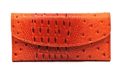 Ostrich Trifold Checkbook Wallet Womens Animal Printed Wallet (Orange)