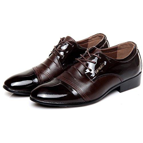 WZG Nuevos hombres señalaron los zapatos zapatos de vestir, zapatos casuales zapatos de trabajo de encaje de herramientas de la moda de los hombres Brown