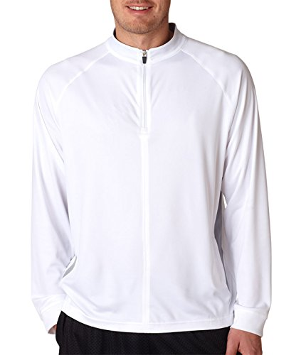 ULTRACLUB 8432 Adult Cool & Dry Sport Long-Sleeve 1/4-Zip - XXX-Large - White/ Grey