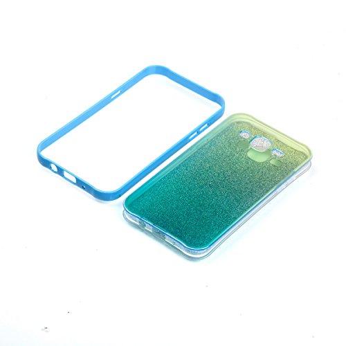 Ukayfe 2 In 1 Funda para Samsung Galaxy J5 2015, Suave Carcasa Caso Parachoques Diseño pintado Patrón para Samsung Galaxy J5 2015,Funda Case Lujo Premium Bling Caja PC Dura Ultra Fina Cubierta Matt Gl Azul