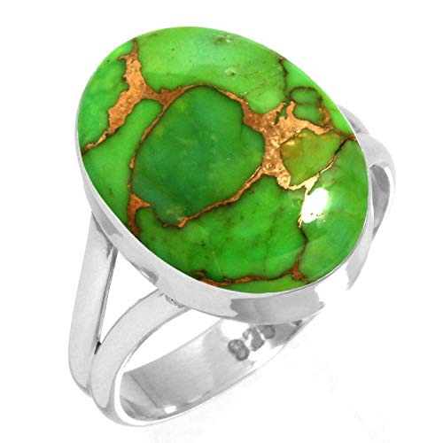 Copper Green Turquoise Women Jewelry 925 Sterling Silver Ring Size 12
