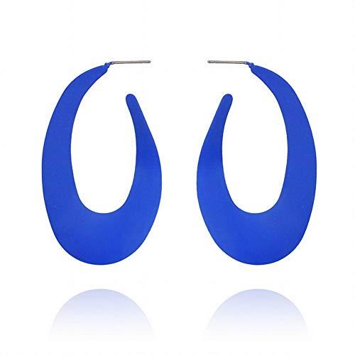 ZRDMN European and American fashion Color big earrings creative candy color summer personality U-shaped earrings, sapphire blue Jewelry Earrings Water Drop Pendant Stud Earrings for Womens ()