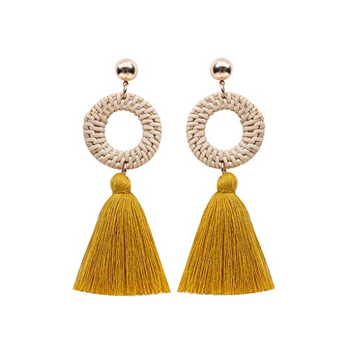 Goddesslili Tassel Earrings for Women Girlfriend Girls Ladies Bohemian Rattan Tassel Handmade Long Round Vintage Retro Wedding Engagement Anniversary Luxury Jewelry Gift Under 5 Dollars ()