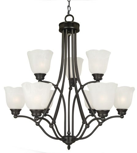 Yosemite Home Decor 92139-3+6VB Mahogany Chandelier with White Marble Shades, 9-Light, Venetian Bronze (Venetian Light Nine Bronze)