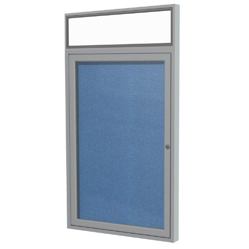 """New 1 Door Outdoor Enclosed Bulletin Board Size: 3' H x 2'6"""" W, Frame Finish: Satin, Surface Color: Ocean"""