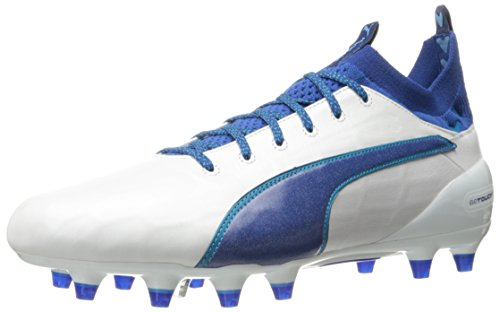 Puma Mens evoTOUCH 1 FG Soccer Shoe Puma White-true Blue-blue Danube