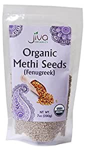 Jiva USDA Organic Fenugreek Whole Methi Seeds 7 Ounce  - Nearly 1/2 Pound