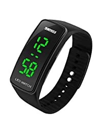 LED Watch Fashion Sport Waterproof Digital Watch for Boys Girls Men Women (black)
