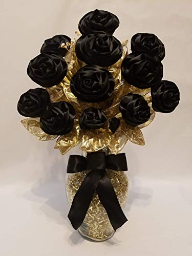 Handmade Black Satin Ribbon Rose Bouquet of 13 Long Stemmed Roses with Glass Vase from the Sassy Collection