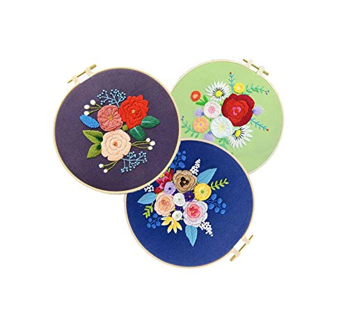 DIY Embroidery Kit for Beginner Flower Printed Needlework Kits Cross Stitch Arts Crafts Sewing Home Decor Gift,3pcs,20cm Bamboo Hoop kit