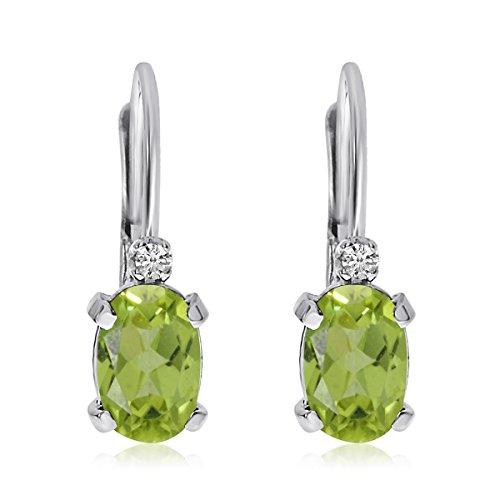 14k White Gold Oval Peridot and Diamond Leverback - Earrings Gold Peridot Oval