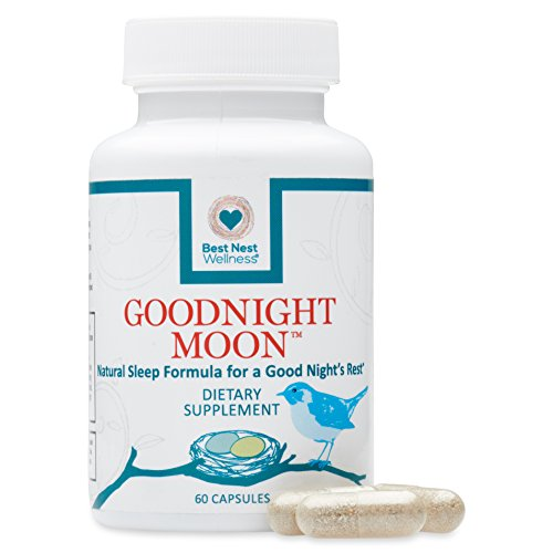 Goodnight Moon Natural Sleep Aid | 60 Non-Habit Forming Capsules, Herbal Sleep Aid, with Melatonin, Chamomile, Valerian, Magnesium, Relaxation & Deep Sleeping Supplement Pills, Best Nest Wellness (Wellness Nutrition Sleep Aid)