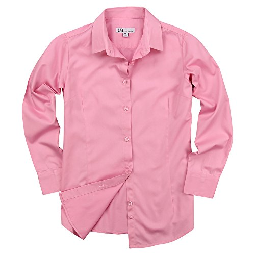 Women's 100% Cotton Classic Long Sleeve Shirt (Light Pink, Large) - Pink Long Sleeve Button Front