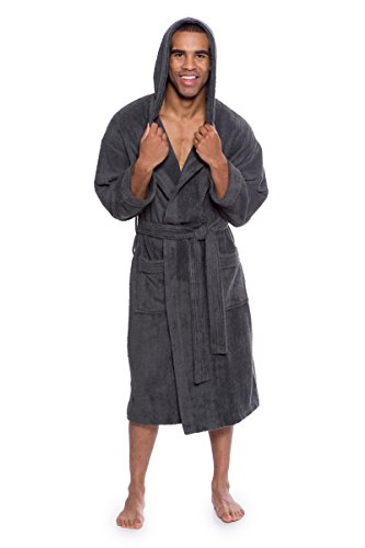 TexereSilk Men's Bathrobe - Terry Cloth Robe For Men - Luxury Hooded Spa Robe For him (Dark Shadow, Large/X-Large) Popular Gifts For Dad Husband Son Brother (Texeresilk Mens Robe)