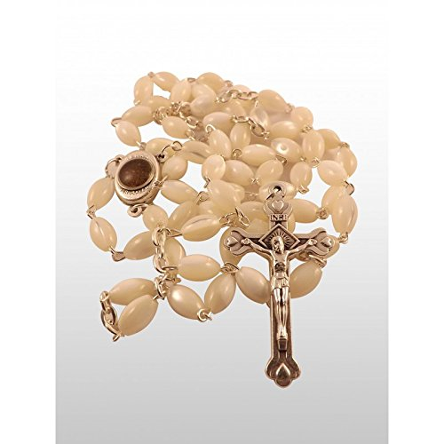 Assorted Collection of Holy Land Glass and Wood Rosaries Jerusalem Soil Holy Water by Bethlehem Gifts TM (Mother of Pearl Rosary)