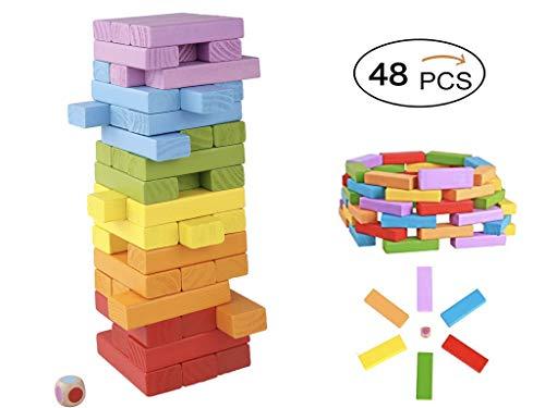 6色木製カラフルジェンガ【48ピース】サイコロ付き 知育玩具 子供から大人まで楽しめるおもちゃ 積み木・ドミノ・ブロックとしても遊べる アンバランス