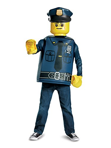 Disguise Lego Police Officer Classic Costume, Blue, Medium (7-8) -
