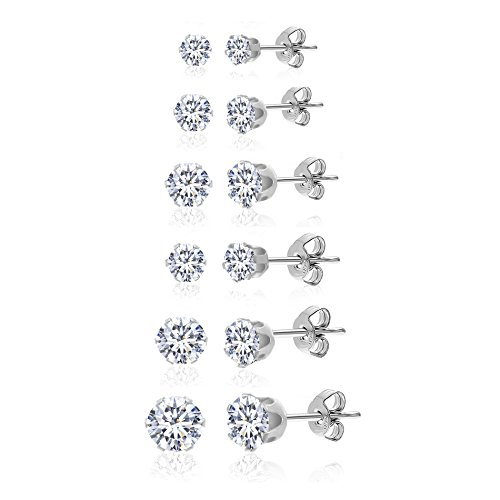 Stainless Steel Round Clear Cubic Gem CZ Stud Earring 6 Pair Set 3-8mm (Michele Vintage Earrings)