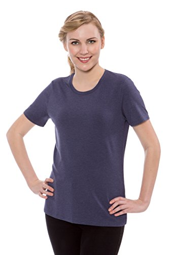 (TexereSilk Women's Short Sleeve Tee Shirt - Luxury T-Shirt For Ladies by Texere (Jenatee, Heather Denim Blue, Large) Elegant Tops For Her TX-WB113-007-24U1-R-L)