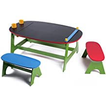 Multifunctional art table and activity play table with chalkboard surface, paper roll and storage cups